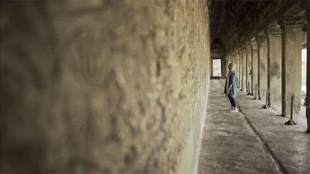 Presenter Mary Beard inside of Angkor Wat, Siem Reap, Cambodia