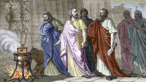 Herón mostrándole su invento a otros sabios de la época