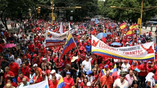 Supporters of Venezuela's President Nicolas Maduro attend a rally in support of his government and to the National Constituent Assembly in Caracas, Venezuela June 19, 2017.