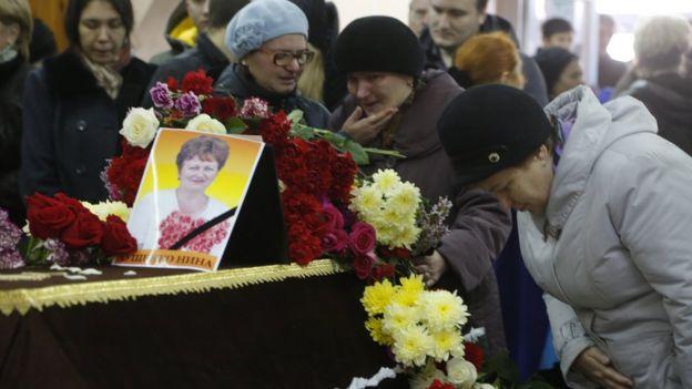Funeral for plane crash victim in Veliky Novgorod, Russia. 5 Nov 2015