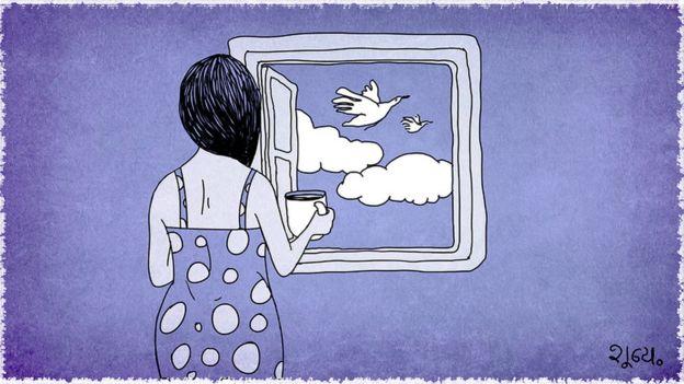 Ilustración de una mujer mirando por la ventana.