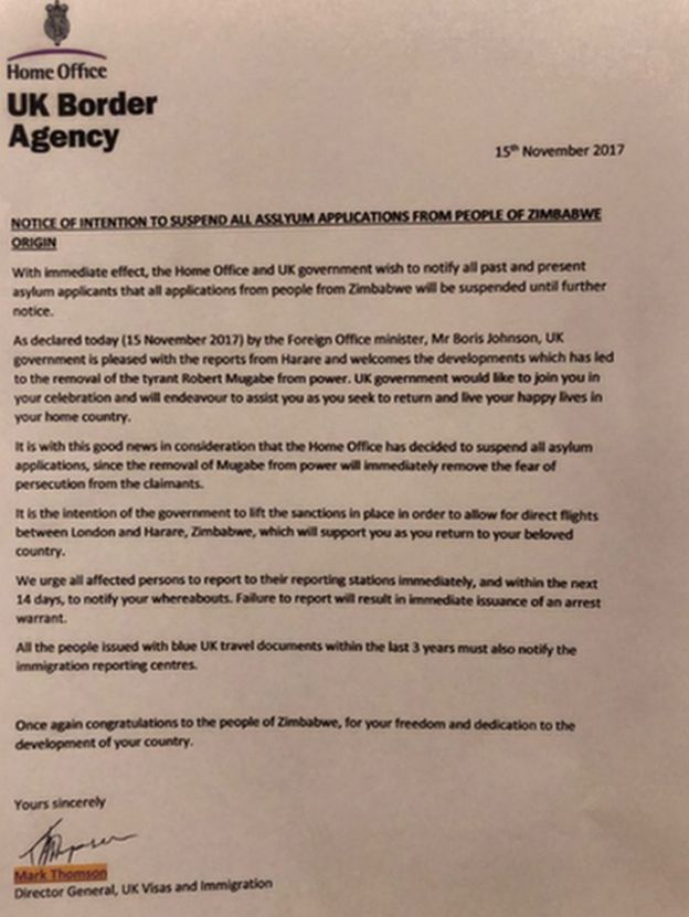 Letter purporting to be from the UK Border Agency