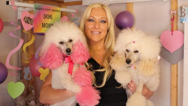 Daniela Forshaw with her poodles