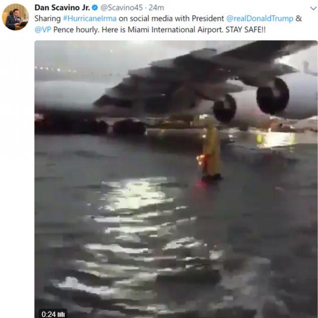 La imagen del aeropuerto de Miami que compartió Scavino en Twitter.