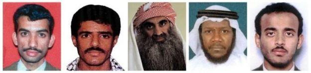 Ali Abd al Aziz Ali, Waleed bin Attash, Khalid Sheikh Mohammed, Mustafa Ahmad al Hawsawi e Ramzi Binalshibh