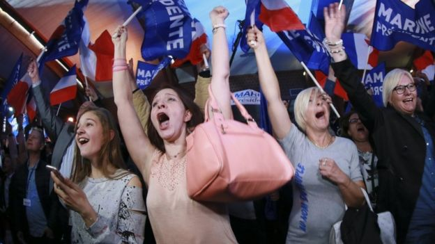 Supporters of French presidential candidate Marine Le Pen celebrate