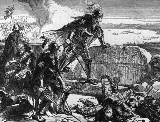 Grabado muestra a caballeros de la Orden de Malta luchando contra el ejército turco.