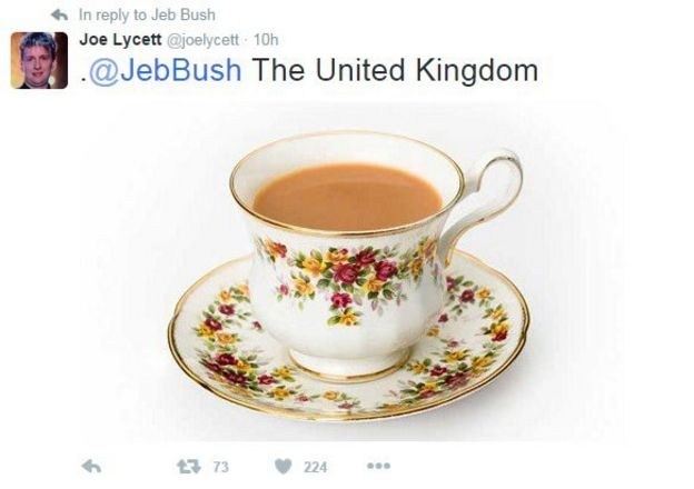 A cup for tea to represent Britain.