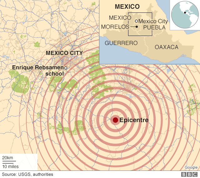 A Map Shows The Extent Of The Earthquake S Reach In Central Mexico