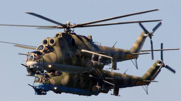 Helicópteros de ataque rusos Mi-24.