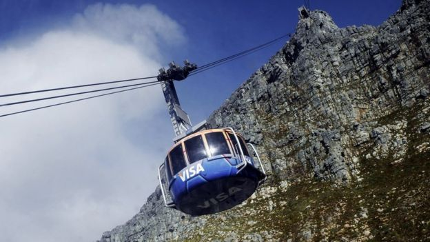 A cable car makes its way up on the Table mountain cableway on May 7, 2010 in Cape Town, South Africa.