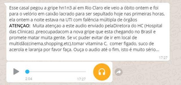 Capturas de tela de mensagens no Whatsapp com boatos sobre gripe
