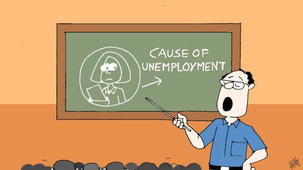 Cartoon of teacher saying women cause unemployment