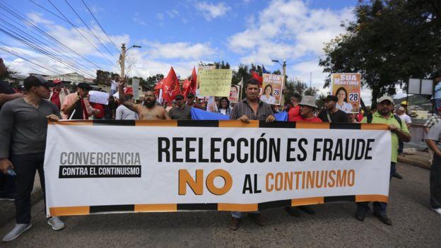 Protesta contra la reelección en Honduras.