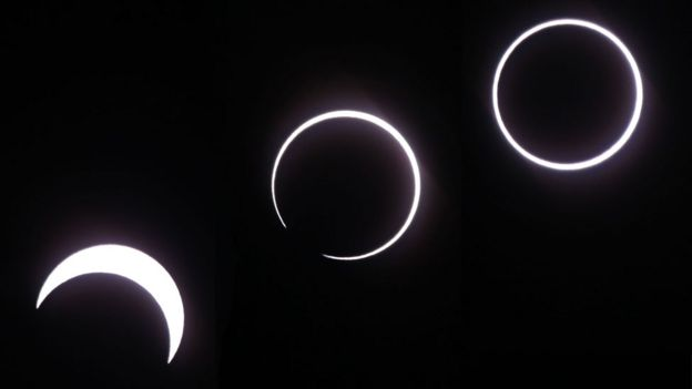 This composite image showing the progress of the eclipse as seen from La Reunion.