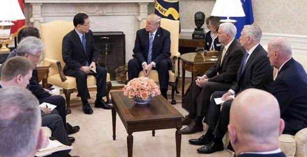 韓国代表団はトランプ氏に、平壌での金氏との会談内容について説明した