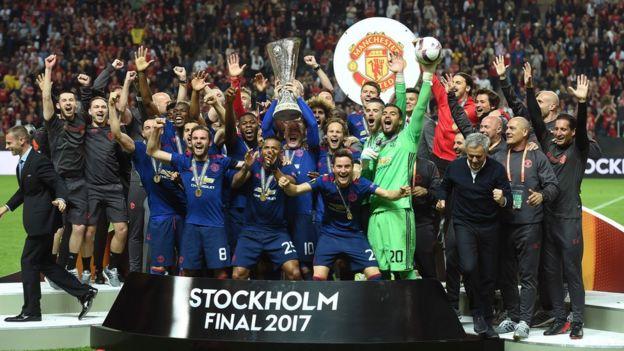 Manchester United comemora título da Uefa em 2017