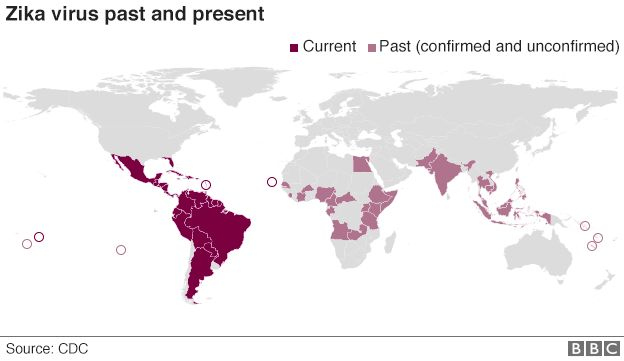World map showing past and present cases of Zika virus