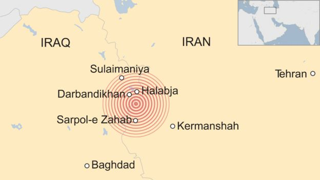 A map showing an earthquake in the Iran-Iraq border region