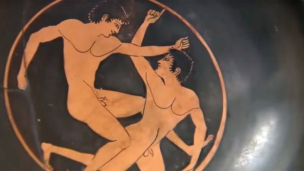 Ilustración en cerámica de los Juegos Ítsmicos
