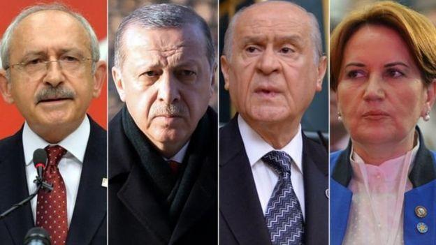 Kemal Kılıçdaroğlu, Recep Tayyip Erdoğan, Devlet Bahçeli, Meral Akşener