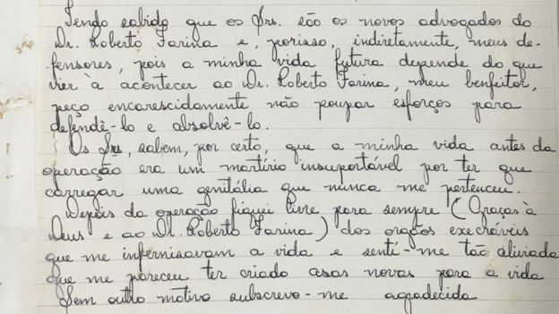 Carta manuscrita de Waldirene aos advogados de Farina