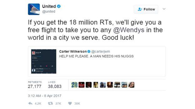 Oferta de un vuelo gratis de United Airlines a Carter Wilkerson