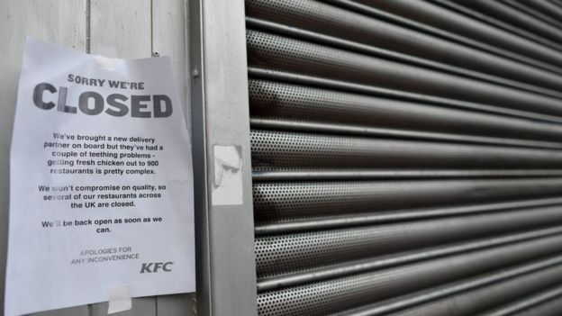 KFC shuttered and with notice on close