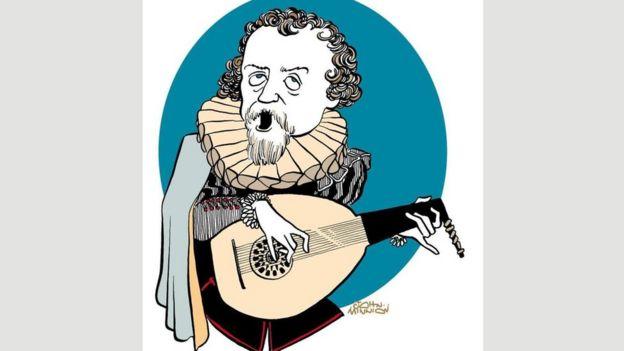 Caricatura de Dowland por el ilustrador inglés John Minnion