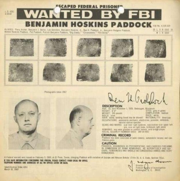 Boletín del FBI con la búsqueda de Benjamin Paddock (Foto: FBI)