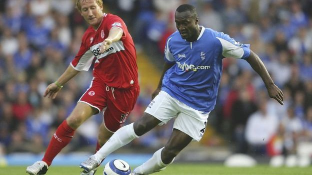 Middlesbrough's Ray Parlour (left) and Olivier Tebily of Birmingham City (right) clash in the 2005-06 Premier League season