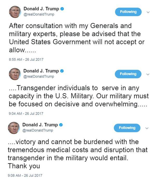Tuítes de Donald Trump