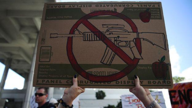 Un cartel en contra de las armas