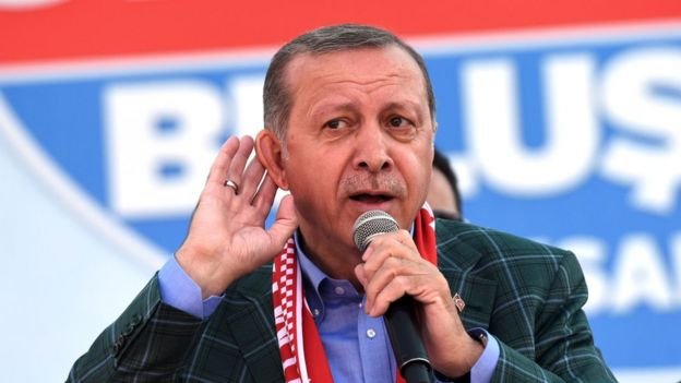 Turkish President Recep Tayyip Erdogan delivers a speech in Istanbul during the final day of rallies on the eve of the constitutional referendum, 15 April 2017