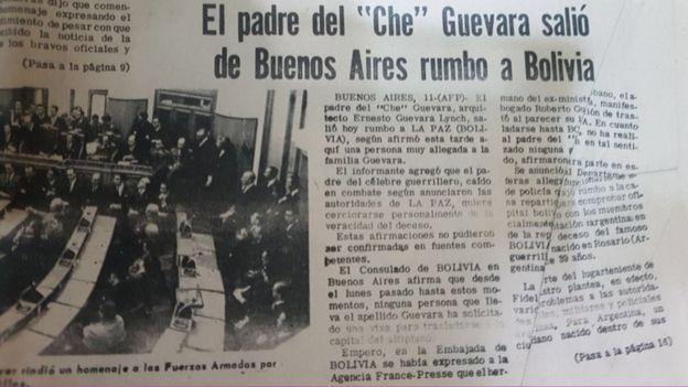 Periódico boliviano de 1967 con la noticia del viaje del padre del Che a Bolivia