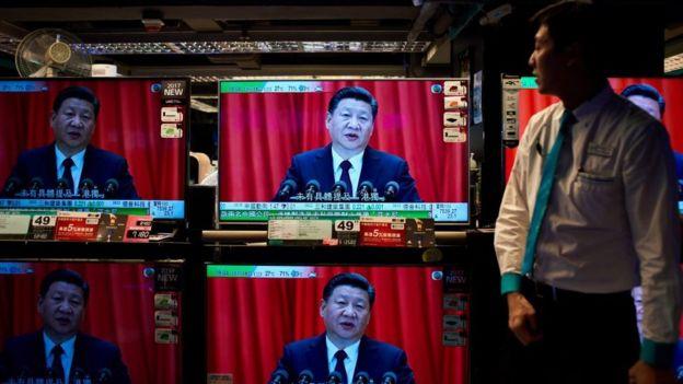 Transmisión del discurso de Xi en televisión