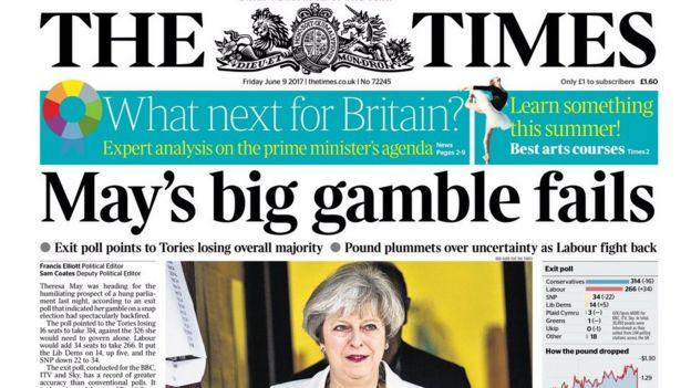 《泰晤士报》说梅输掉了最大的游戏。