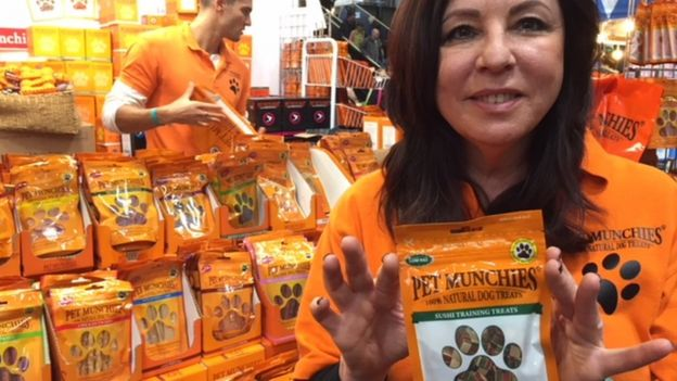 Suzanne Rothman with her sushi for dogs
