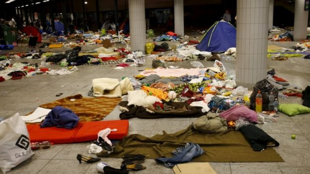 The Keleti station after migrants left for buses Austria and Germany, 5 September