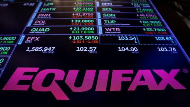 Símbolo da Equifax no painel da bolsa de Nova York