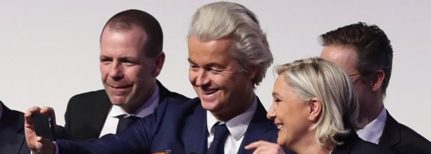 From L-R: Harald Vilimsky, General Secretary of the Austria Freedom Party, Geert Wilders, leader of the Dutch PVV party, and Marine Le Pen, leader of the French Front National, greet supporters at a conference of European right-wing parties on January 21, 2017 in Koblenz, Germany