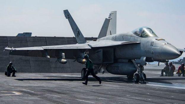 Un avión caza F/A-18 Super Hornet (foto de archivo).