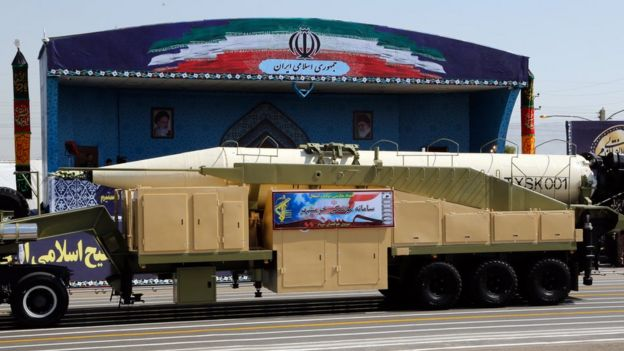 A Khoramshahr medium-range ballistic missile is displayed at a military parade in Tehran, Iran on 22 September 2017