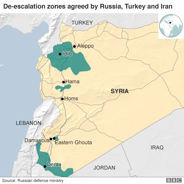 Syria war turkey russia iran agree idlib ceasefire zone bbc map showing proposed de escalation zones in syria gumiabroncs Images
