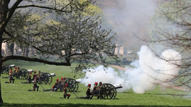 Members of the King's Troop Royal Horse Artillery take part in a 53 gun salute in Green Park
