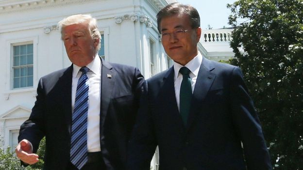 US President Donald Trump and South Korean President Moon Jae-in following a joint statement at the White House, 30 June 2017