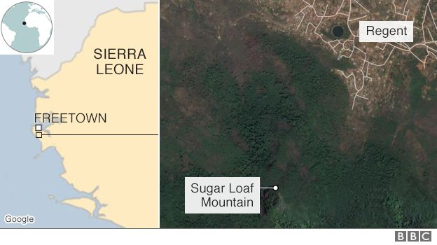Map shows the location of the capital of Sierra Leone, Freetown