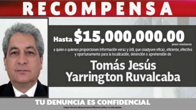 A poster offers a 15m-peso reward for information leading to the arrest of Tomás Yarrington