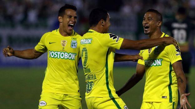 Jugadores de Atlético Nacional festejando el gol