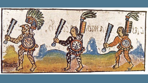 Guerreros aztecas como se muestra en el Códice Florentino del siglo XVI (Vol. IX). Cada guerrero está blandiendo un maquahuitl.